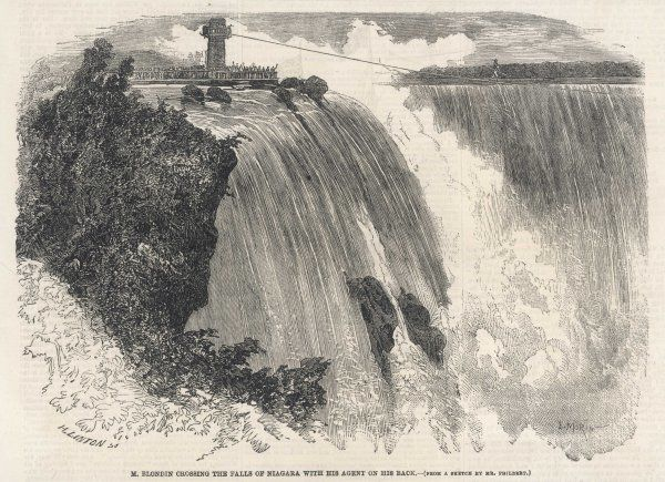 'Blondin' crosses Niagara Falls (with his agent on his back!) Date: 1859
