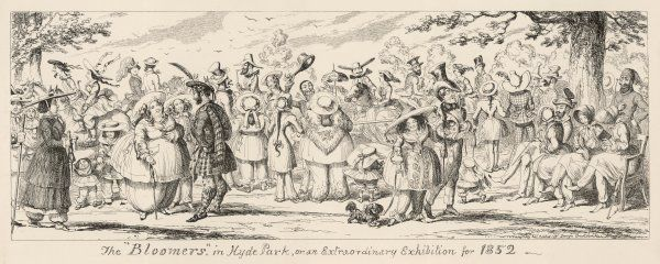 A view of things to come - women wearing the trousers. All of female kind take to wearing bloomers. A kilted scotsman chats to a newly emancipated lady
