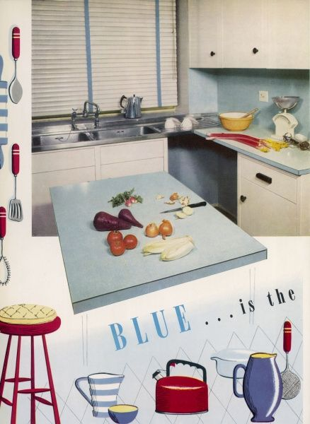 Blue formica surfaces combine with cool white for the practical blue kitchen scene visualised here. The accent colour, red, appears in the gay utensils