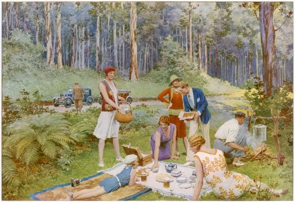 An illustration by F. Matania depicting the popularity of picnicking in the Australian forests