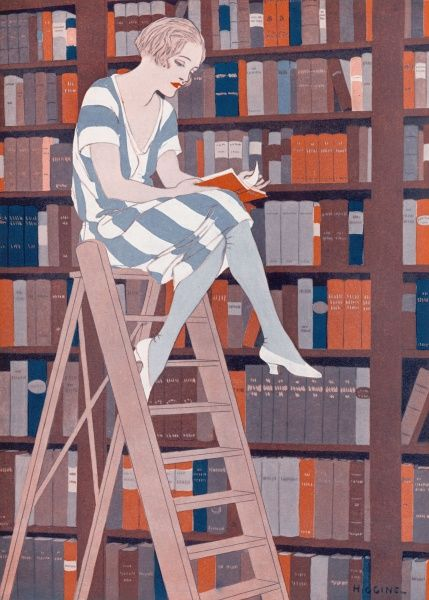 A colour illustration showing a lady perched on library steps reading a book. The picture is entitled 'The Bluestocking', a term traditionally applied to academic women