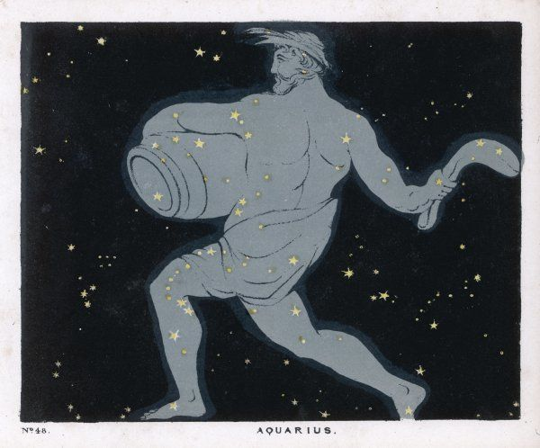 The constellation of Aquarius, a figure of a man carrying a jar of water