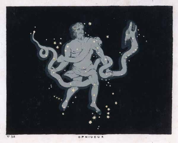 The constellation of Ophiucus - the figure is that of a man wrestling with a serpent