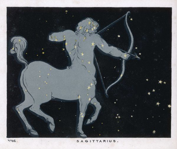 The constellation of Sagittarius, half man and half horse with a bow and arrow