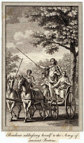 BOADICEA (aka Boudicca) Queen of the Iceni, in her chariot