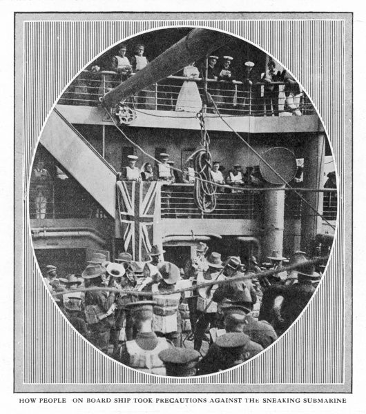 People on board the Britannic, the sister ship of the Titanic, taking part in a service; the ship, requisitioned as a hospital ship in WW1 was sunk by a mine