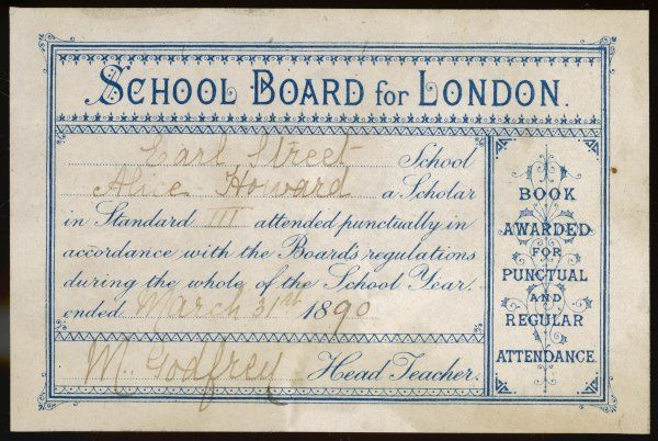 A bookplate, once cleaved to a book, which was given to Alice Howard, Standard III of Earl Street School for good attendance
