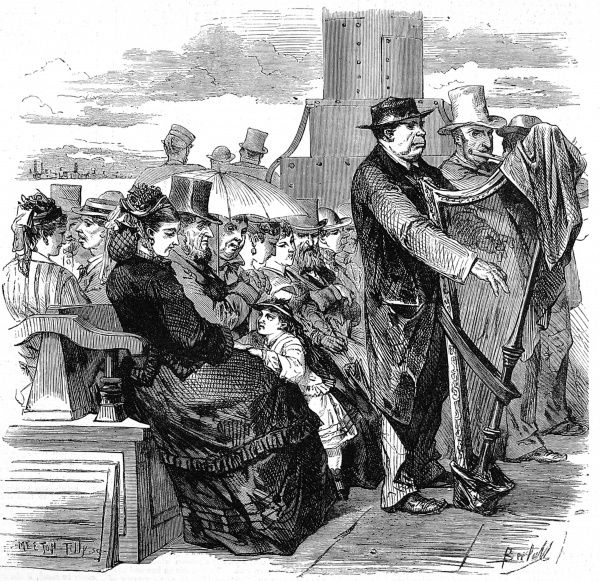 Engraving showing the passenger deck of a Thames River Steamer, with various passengers seated on benches and two musicians, playing the flute and harp