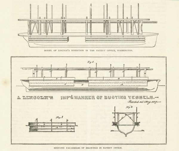 An improved system for buoying vessels, patented by Abraham Lincoln, future President of the United States. A model of the invention and facsimile drawings are shown here Date: 1849