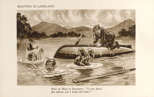 "Boating in Lakeland - humorous postcard cartoon. Man on Boat to Boatmen: ""If you don't get ashore can I keep the boat?"" !!"