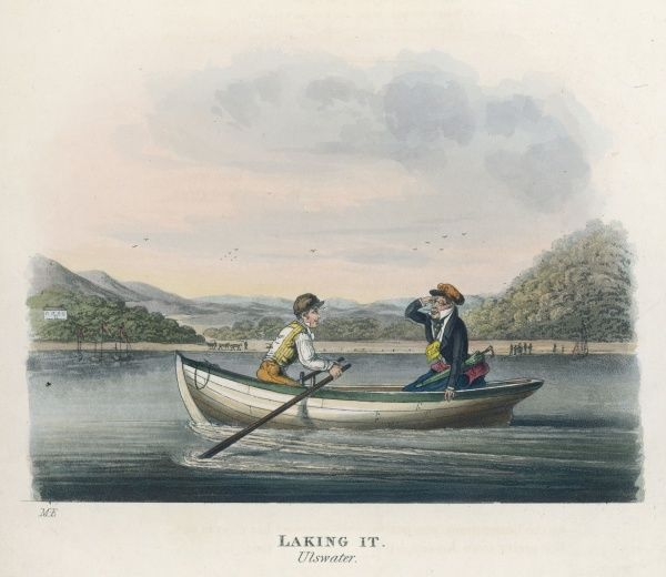 Tourists boating on Ullswater, in the English Lake District