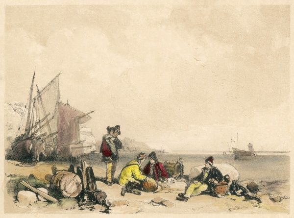 A scene showing fishermen and others on the beach