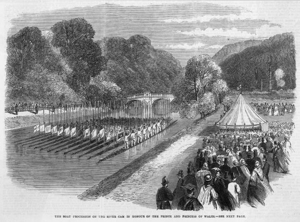 Procession of boats on the Cam, in honour of the Prince and Princess of Wales