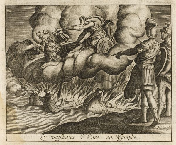 Turnus burns the boats of Aeneas, but they are made from wood sacred to the mother- goddess Cybele, so she turns them into sea-nymphs