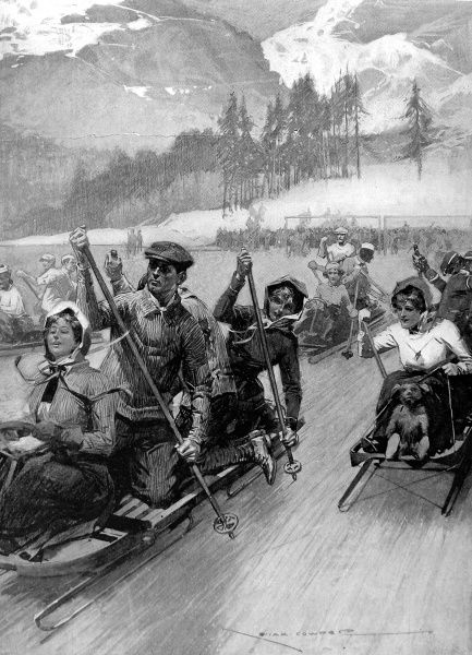 Illustration showing a bobsleigh 'punting' race held on a 'bandy' rink (a form of ice hockey) at St. Moritz, Switzerland, 1909