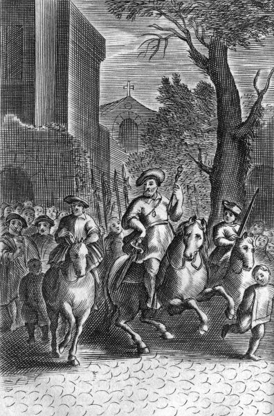 Jan Bockelsen rides in triumph through the streets of Munster. Date: after 24 June 1534