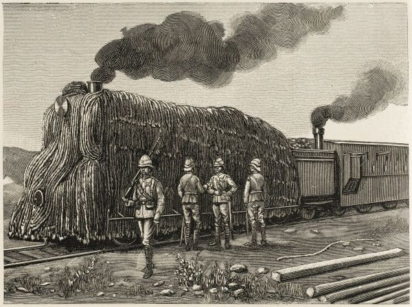 Armoured train used by the British ; the locomotive is given blanket protection