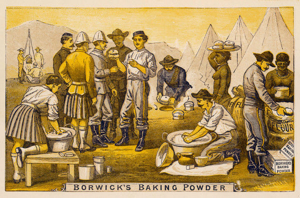 British camp scene during the Boer War where, according to private Ward of the Frontier Mounted Police, Borwick's Baking Powder enabled them to enjoy excellent bread