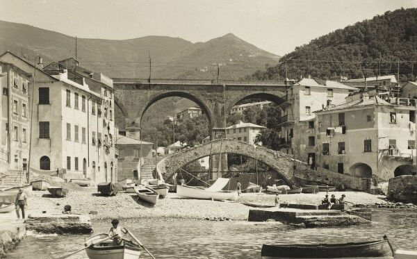 Two bridges (old footbridge and new railway bridge) at Bogliasco, Italy in the Liguria region