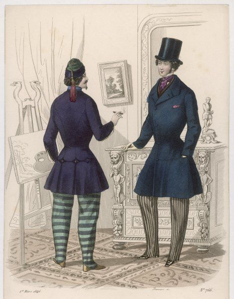 Tasselled skull-cap, cigar, slippers, purple jacket, blue stand collar, cuffs unbuttoned to the elbow, horizontal striped trousers; frock coat, vertically striped trousers