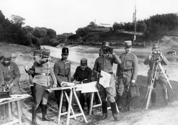 Soldiers of the Austro-Hungarian Army at the command post of army commander General Eduard von Bohm-Ermolli (1856-1941) (seen here behind the table, wearing the darker cap)