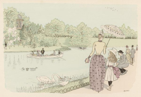 People in the Bois de Boulogne watch others boating on the water