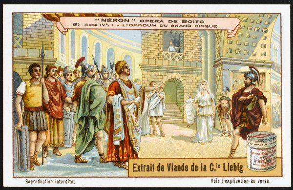 Scene from act four : in the entrance to the circus, Nerone learns of Simon Magus's plot to escape by setting fire to Rome