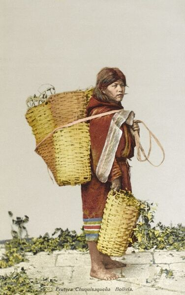 Bolivian Woman carrying many baskets - she is Fruit seller Date: circa 1910s