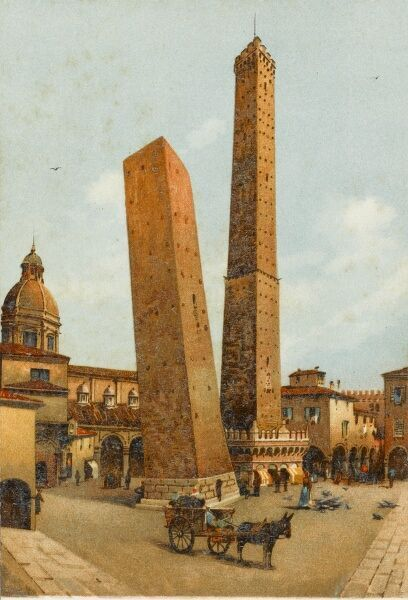 The two leaning towers - the symbol of the City of Bologna, Italy