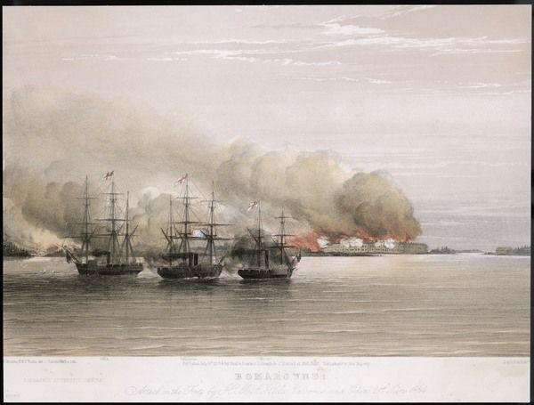 Bomarsund, a Russian fortress in the Baltic, is bombarded by 'Hecla' and other British warships before being taken by a combined French and British force under sir Charles Napier