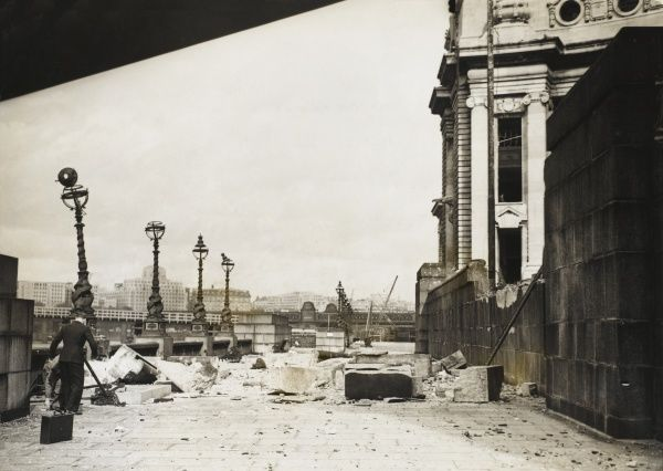 The Southbank terrace alongside City Hall, showing fallen masonry attesting to bomb damage following a German Air Raid during the Blitz