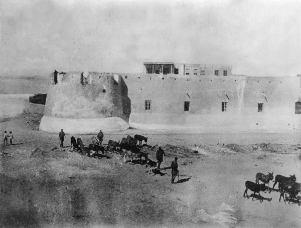 The bombardment of Tripoli during the Italo-Turkish War (1911-12) -- scene at the Fortress Sultana. The threatened outbreak of the First Balkan War forced Turkey to make peace, and by the Treaty of Ouchy (15 October 1912) Turkey ceded Libya