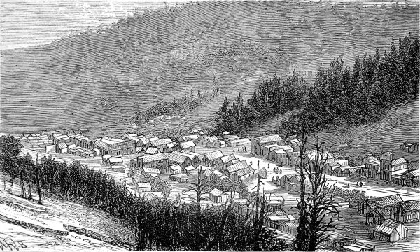 Engraving showing the settlement of Bonanza, Sagnache County, Colorado, 1881. In 1880 Bonanza was just a collection of a few tents, but by 1881 the settlement had become a large town