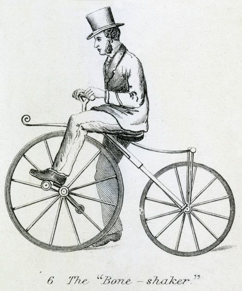 It has pedals, but no chain, and no pneumatic tyres - hard work to propel, and hard on the seat... Date: circa 1830