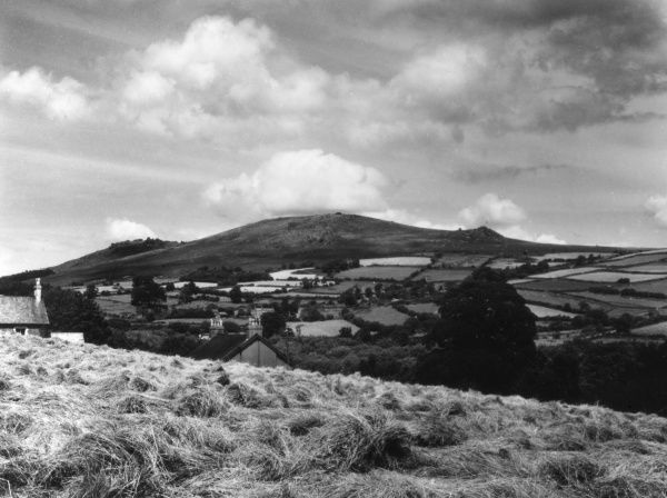 A fine view of Bonehill Down, Dartmoor, Devon, England, viewed from near Widecombe-in- the-Moor. Date: 1950s