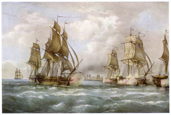 John Paul Jones, American naval commander, in the 'Bonhomme Richard' attacks the 'Serapis&#39