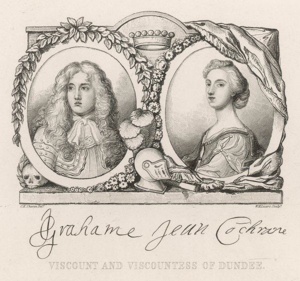 JOHN GRAHAM of Claverhouse, viscount DUNDEE, known as 'Bonnie Dundee', with his wife ; he supported the Stuart cause and was killed at the battle of Killiecrankie