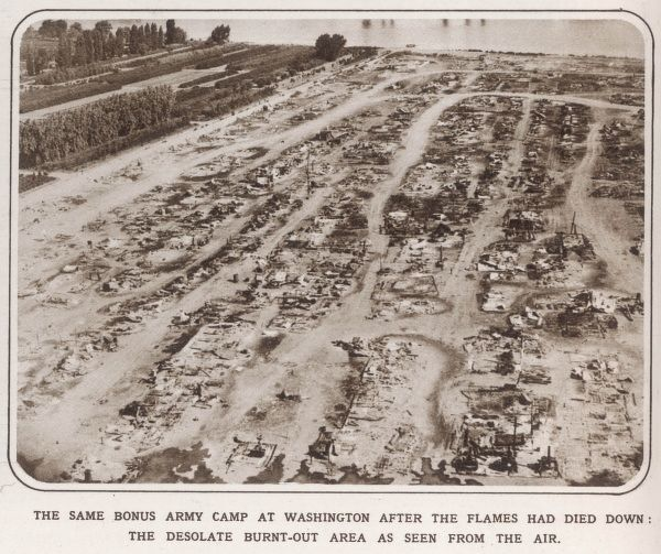 The camp of the Bonus Army at Washington after the fire: the burnt out area as seen from the air