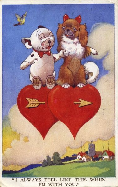 I always feel like this when I'm with you. Bonzo & Chee-Kee sitting on floating hearts pierced by an arrow. Date