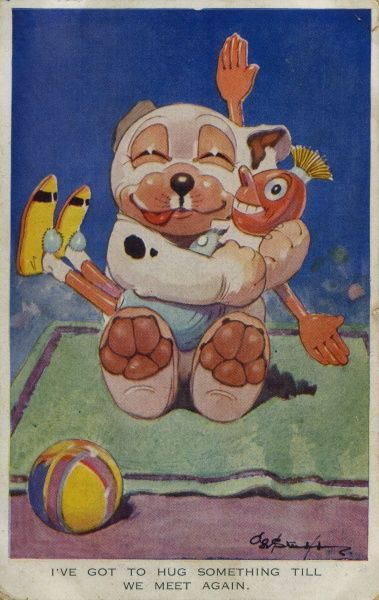 I've got to hug something till we meet again. Bonzo with a ball on the beach sitting on a towel, cuddling a wooden doll. Date: 1928