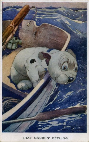 That cruisin' feeling. Bonzo feeling seasick over the side of a rowing boat in rough water. Date: ca 1926