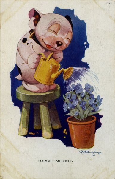 Forget-Me-Not. Bonzo standing on a stool, watering can in hand, watering a pot of flowers. Date: 1928