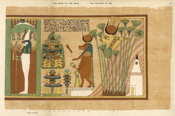 God of the underworld, and of vegetation : associated with the mortuary goddess Serket in this painting showing him in a shrine to Hathor as hippopotamus