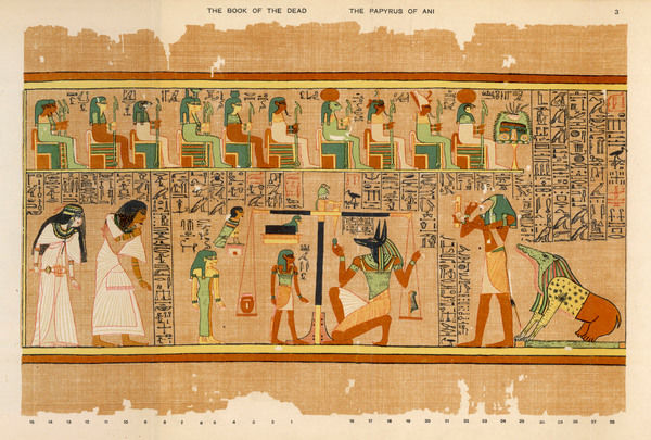 The weighing of Ani's conscience by Anubis : Thoth notes the result - Anemit waits to devour him if guilty (which he is not)