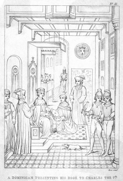 CHARLES VII, KING OF FRANCE A Dominican monk presenting his book to the king who is surrounded by courtiers and royal hangers-on