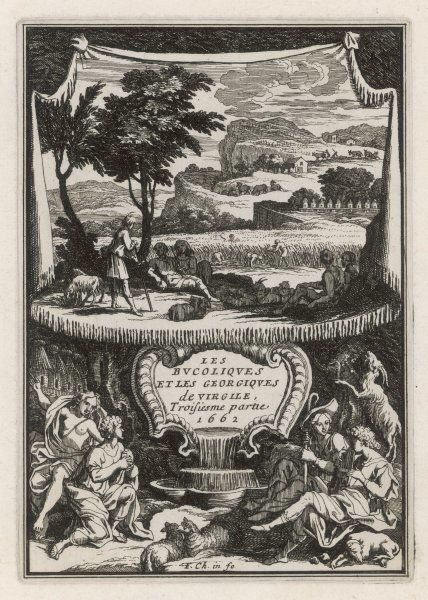 Title page to the third part of Virgil's 'Eclogues' (here called 'bucoliques') and the 'Georgics', depicting agricultural and sheepherding activities