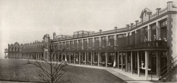 Open air ward block at Booth Hall Infirmary, Charlestown Road, Blackley, Manchester. Booth Hall was built in 1908 as an infirmary for the Prestwich Union but, after the merging of Manchester's poor law unions in 1915, became a children's hospital