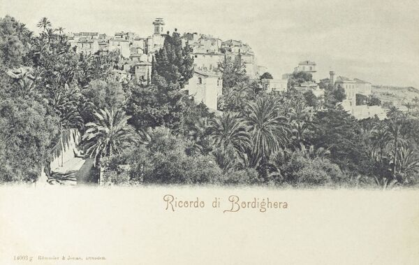 General view of Bordighera, Italy - Italian town on the French border and on the Mediterranean coast. Date: circa 1905