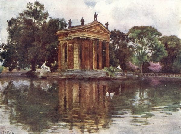 Ornamental Water feature in the gardens of Villa Borghese. Date: 1905