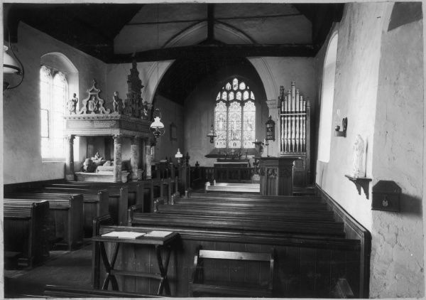 Borley Church - the interior, showing the Waldegrave monument on the left